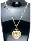 INFINITY:ANTIQUE HEART GOLD TONE WATCH PENDENT WITH ITALIAN GOLD FINISH CHAIN