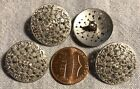 """4 Silver Tone Very Slightly Domed Pierced Metal Shank Buttons 13/16"""" 20MM # 6059"""