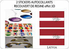 2 X STICKERS COVERED RESINATED WINE FLAG 3D EFFECT 70 mm X 50 mm LATVA