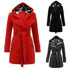 Women Warm Winter Hooded Trench Coat Wool Blends Long Jacket Outwear Parka Tops