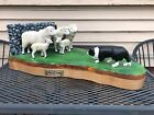 Vintage Carved Folk Art Diarama Autralian Shepherd Sheep Dog At Work