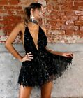 Mini Deep V-neck Dress Sequins Tassel Design Sexy Fit Ladies Party Dresses Wears