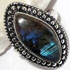 B1422  Fiery Labradorite & 925 Silver Plated Ring Jewelry Us Size 8.5