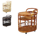 Natural Rattan Wicker Handmade Serving Cart model Trolley 3 Colors
