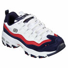 Skechers Women's D'Lites Sure Thing Low Top Sneaker Shoes White Navy Red Sports