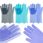 1 Pair Gloves Silicone Cleaning Dish Washing Scrubber Magic Kitchen US Ship