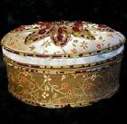 """Vtg DELUXE Beaded UPHOLSTERED Bejeweled OVAL Lidded Fabric-Lined BOX 3""""x6x4 3/8"""""""