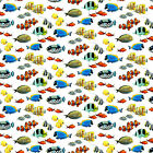 Coral Reef Tropical Fish Northcott Cotton Quilt Fabric DP22080 10 White