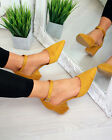 New Womens Mid Block Heel Smart Court Heels Buckle Closed Toe Comfy Shoes Sizes