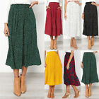 Boho Womens Gypsy Pleated Print Swing Pocket Ladies Dress Long Skirts Size 8-22