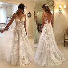 Beach Wedding Dresses A-line V-neck Tulle Lace Backless Boho Bridal Gowns Custom