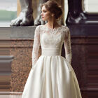 Modest Long Sleeve Wedding Dresses Scoop Satin Appliqued A-line Bridal Gown New