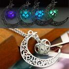 Crescent Moon Heart Glow In The Dark Necklace Jewelry Luminous Chain Best Sale✈