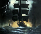 Sailing Ships Storm Lightning Heavy Sea Waves Battle Stretched 20X24 Ol Painting