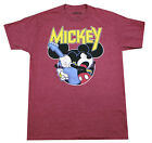 DISNEY MICKEY MOUSE ROCK OUT T-SHIRT MENS DISNEYLAND MUSIC TEE TOP BURGUNDY image