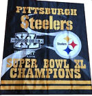 Pittsbugh Steelers Super Bowl XL Champions 2 sided 34x40 House Banner Flag