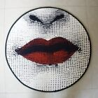 Luxury Round Circular Carpet/Rug/Mat Red Lips.