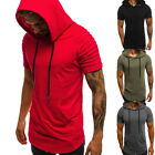 US Men Slim Fit Short Sleeve Hoodie Muscle Tee Shirts Casual T-shirt Tops Blouse image
