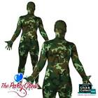 ADULT CAMOUFLAGE SKINZ COSTUME Lycra Bodysuit Festival Army Fancy Dress Outfit