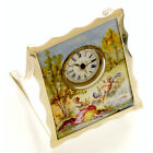 ANTIQUE DESK CLOCK C1880 | STELRING SILVER ENAMEL MINIATURE, VICTORIAN CUPID