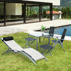 Garden Texteline Furniture Set Folding Chairs Square Table Footstool Sun Lounger
