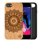 Mandala Bloom Natural Carved Wooden Phone Case for IPHONE SAMSUNG HUAWEI PIXEL