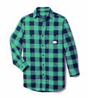 Flame Resistant Navy and Green Plaid Work Shirt - PNG767