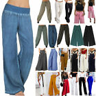 Womens Wide Leg Flared Pants High Waist Casual Palazzo Loose Trousers Plus Size