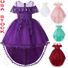 Flower Girl Embroider Birthday Wedding Princess Pageant Party Performance Dress