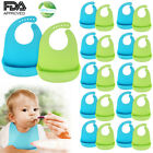 Lots Waterproof Soft Baby Bib 100% food-graded Silicone Feeding Bibs Adjustable