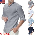Summer Mens Retro Shirts Cotton Linen T Shirt Casual V Neck Slim Fit Tee Tops US image