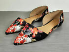 Halogen Maisy d'Orsay Flat, Black / Red Floral Fabric, Womens Various Sizes