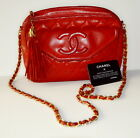 CHANEL Handbag Quilted Red Lambskin Long Tassel and Front Flap Bag