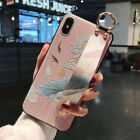 Case For iPhon  8 pLus Flowers Wrist Strap Hand Band Stand Matte Soft TPU Cut