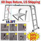 New 15.5FT 16step Aluminum Multi Purpose Ladder Telescoping Folding Extension