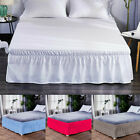 "MODERN SOLID DUST RUFFLE SPLIT CORNERS 1PC BED BEDDING PLEATED SKIRT 14""DROP image"