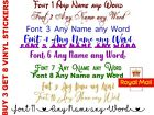 X2 Personalised Custom Name Vinyl Decal Stickers 11 Fonts 36 Colour Wedding Gift