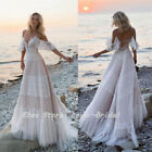 2019 Bohemian Wedding Dresses Off Shoulder Lace Bridal Gowns Backless Beach Boho