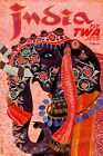"1960s ""TWA Inda"" Vintage Style Airline Travel Poster - 16x24"