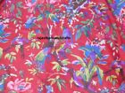 1 Yard Bird Floral Indian Cotton Handmade Vintage Natural Screen Prints Fabric
