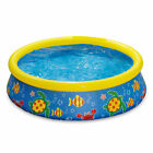 Summer Waves 5 Foot by 15 Inch Inflatable Quick Set Ring Pool with Ocean Print
