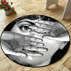Modern Round Circular Carpet/Rug/Mat One Eye Theme. Black & White