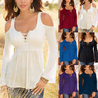 Women Long Bell Sleeve Deep V Cold Shoulder Lace Up Loose Casual Midi Blouse Tee