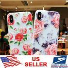 iPhone XS Max XR X 8 7 6 Plus Flora Frosted Flower Pattern Slim Clear Case Cover