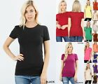 Women Basic SHORT SLEEVE CREW NECK T-Shirt Cotton Stretch Long Top Fitted Tunic