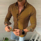 Mens Slim Fit Long Sleeve Shirt Striped Casual Button Business Dress Shirts Tops