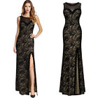 MIUSOL Women Elegant Long Lace Gown, with Slit, Perfect for Prom, Homecoming