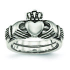 Chisel Stainless Steel Love, Loyalty, Friendship Claddagh Double Hinged Ring SR4 image