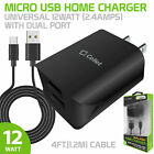 Universal 12Watt 2.4Amp Home Charger with USB Dual Ports and 4' Micro USB Cable