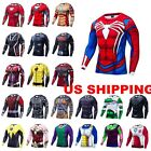 US Superhero 3D Men Marvel T-shirt Long Sleeve Compression Sport Fitness Cycling image